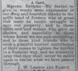 A Card from J. W. Lemmon and Family