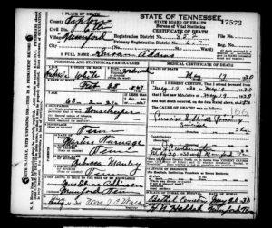 Adams, Susan - Death Certificate
