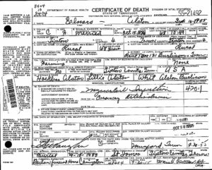 Alston, Elnora Death Certificate