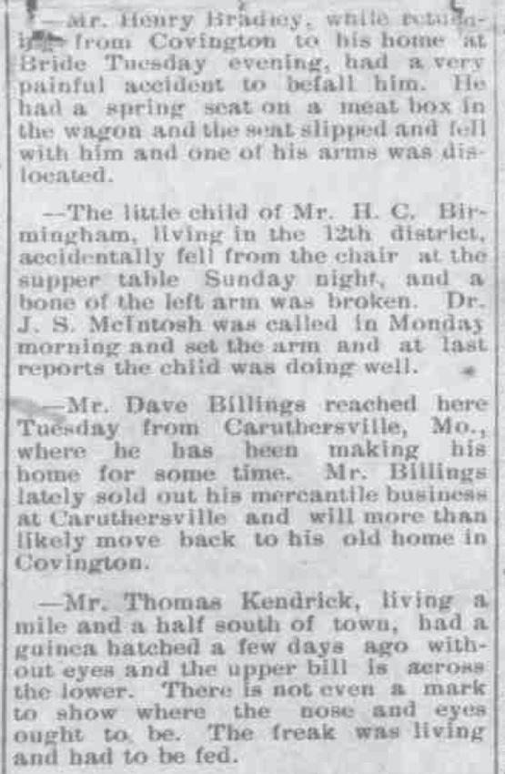 Covington June 17 1898 Local News Happenings