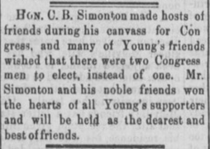 Hon. C. B. Simonton Deserves Great Credit
