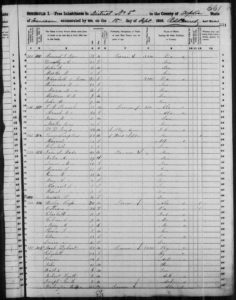 Census 1850 District 5 Tipton County Tennessee