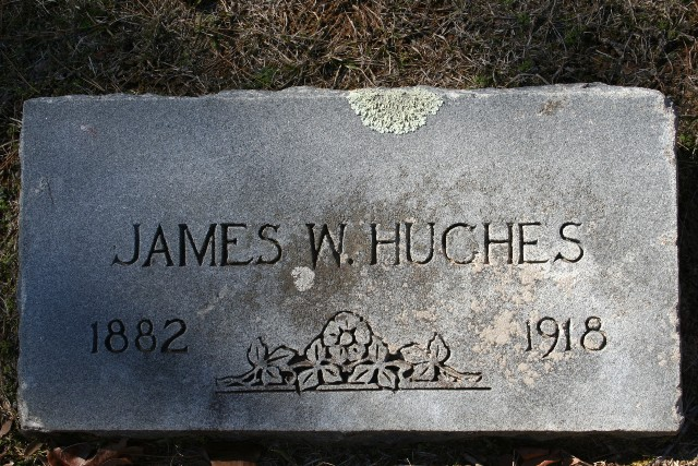 James W Hughes Headstone. He is buried in Long Branch Cemetery, Yalobusha County, Mississippi. He is buried in his hometown and his wife was not buried with him. She is in Bethel Cemetery Atoka, Tipton County, Tennessee.