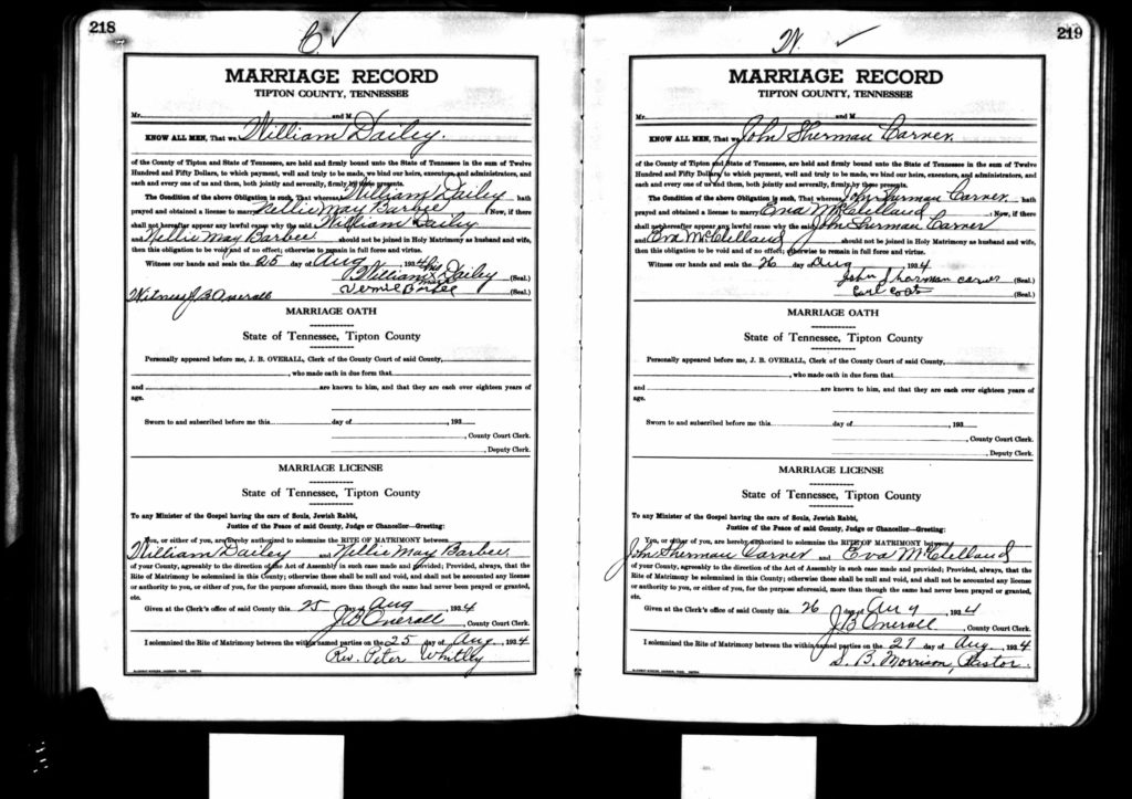 Marriage License - R. W. Dailey and N. M. Barbee