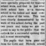 Cobb and Nichols School, Hickman Courier, 3 Aug 1906