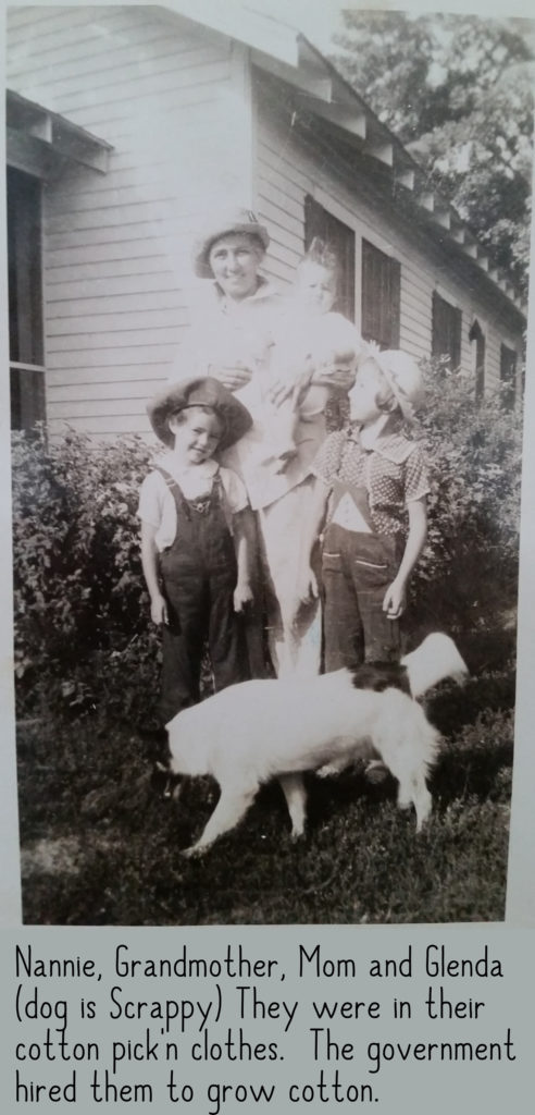 Mary Frances Nichols with Margaret, Nancy and Scrappy the dog
