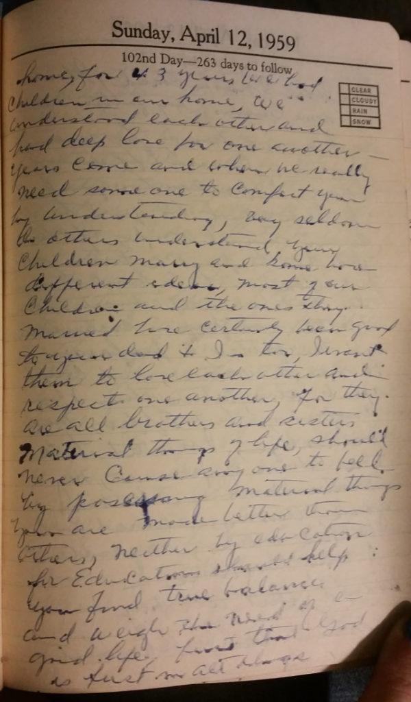 12 Apr 1959 - Mary F Nichols Diary