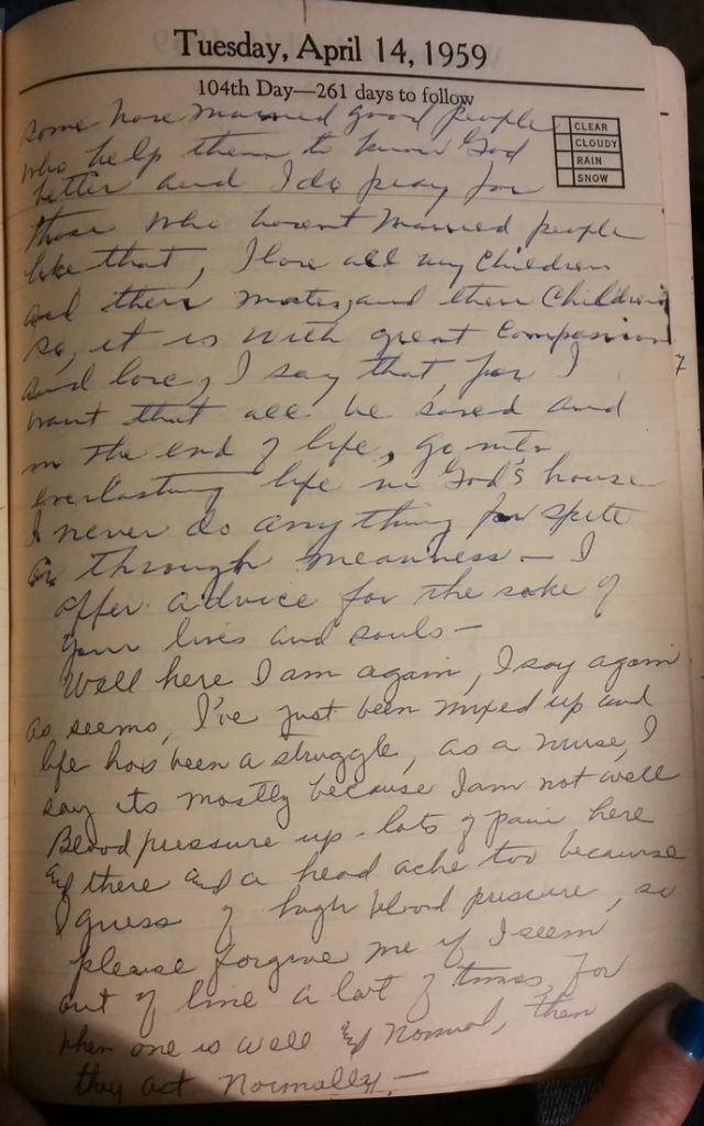 14 Apr 1959 - Mary F Nichols Diary